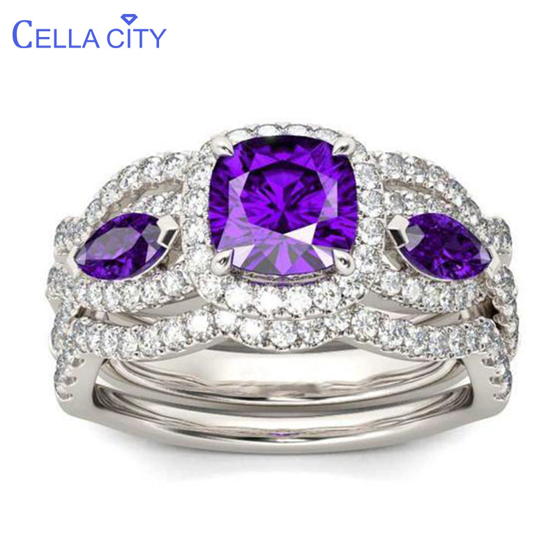 Cellacity Wave Shaped Silver 925 Jewelry Purple Gemstones Ring For Women Geometry Amethyst Female Finger Ornaments Wholesale