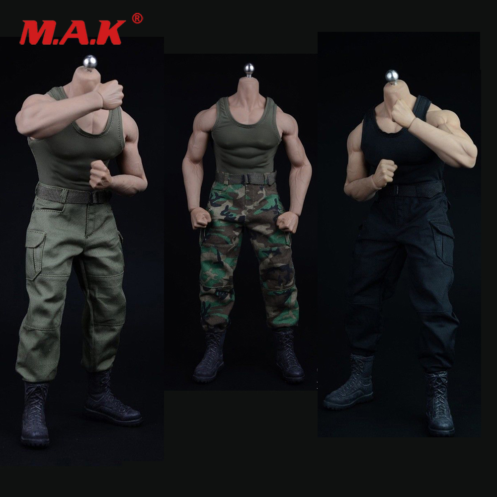 12 Inches <font><b>Action</b></font> <font><b>Figure</b></font> Accessories <font><b>1/6</b></font> Scale Black Vest Pants Belt Shoes Model 3 Colors for M34 Strong Muscle Male <font><b>Body</b></font> image