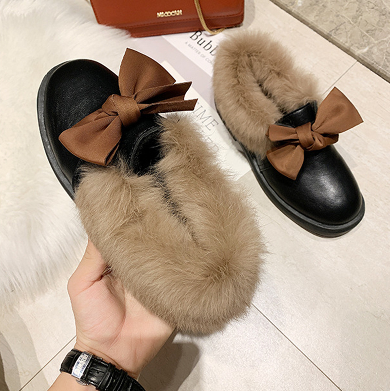 2019 winter long plush warm fur shoes bow tied decorate slip-on leather bullock shoes woman anti-skid chunky leisure espadrilles 44