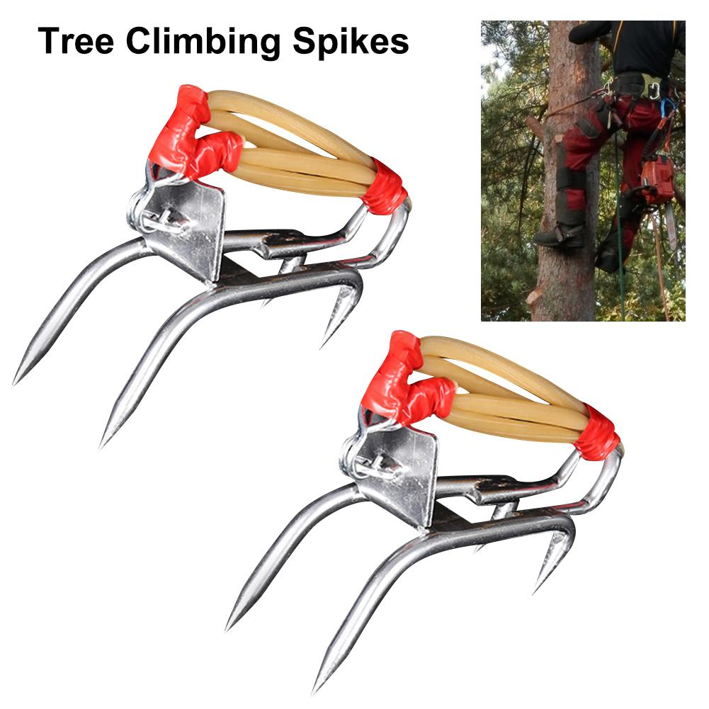 Tree Climbing Spikes Outdoor Tool 2 Gear Set with Safety Belt Adjustable Lanyard