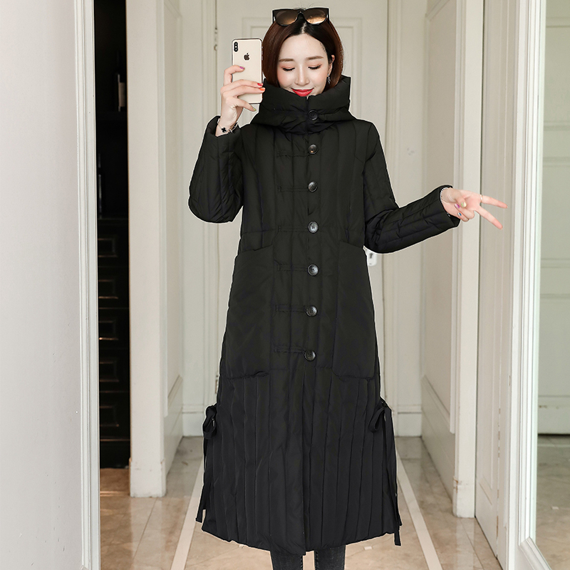 Women's X-long Jacket Winter Hooded Parkas 2020 Oversize Office Ladies Outwear With Buttons Solid Thick Coat Femme Abrigo Mujer