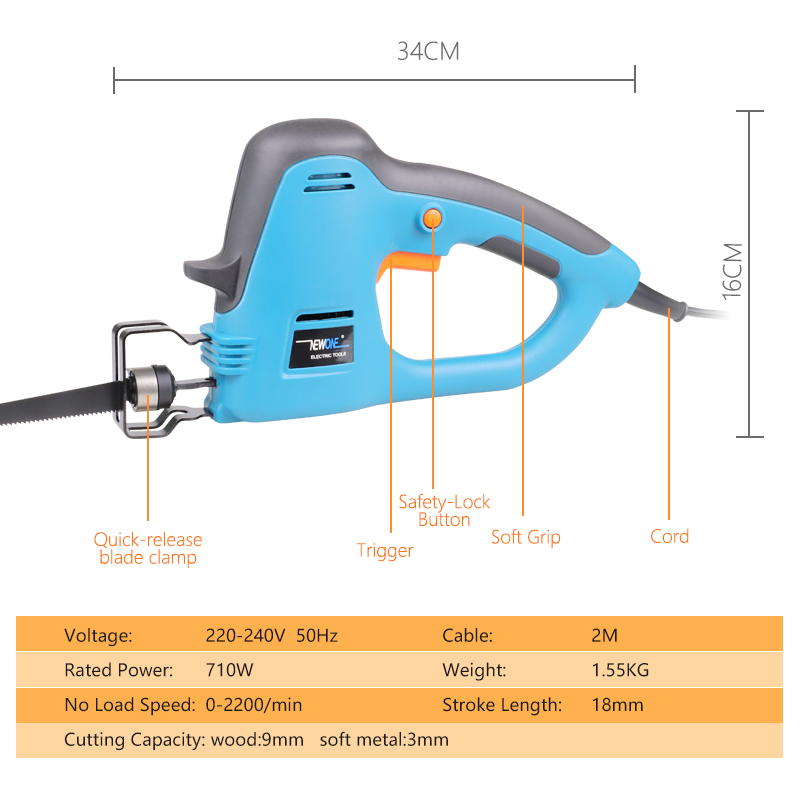 Tools : Electric Power tools 710W reciprocating saw Saber saw Hand saw for wook metal plastic hedge trimmer