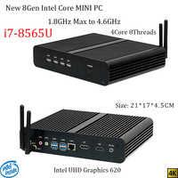 Newest 8Gen Fanless mini pc i7 8565U CPU 4.6GHz Intel UHD620 win10 Quad Core 8 Threads DDR4 2133 2400 2666 NUC Freeshipping pc