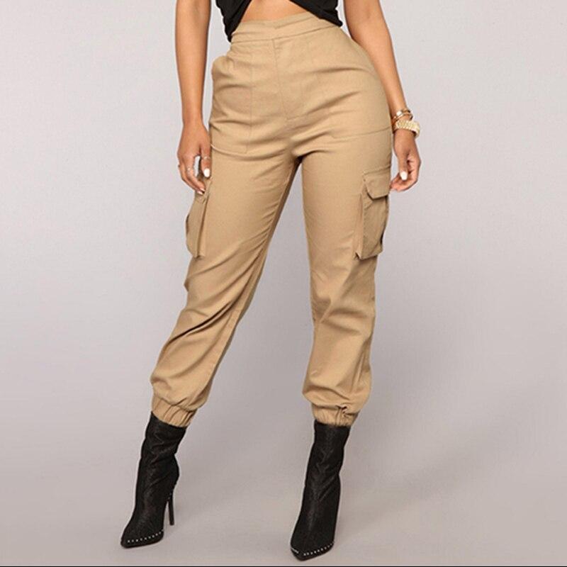 Брюки с высокой талией, камуфляжные свободные джоггеры, женские армейские шаровары, камуфляжные штаны, уличная одежда, черные брюки-карго, ж...