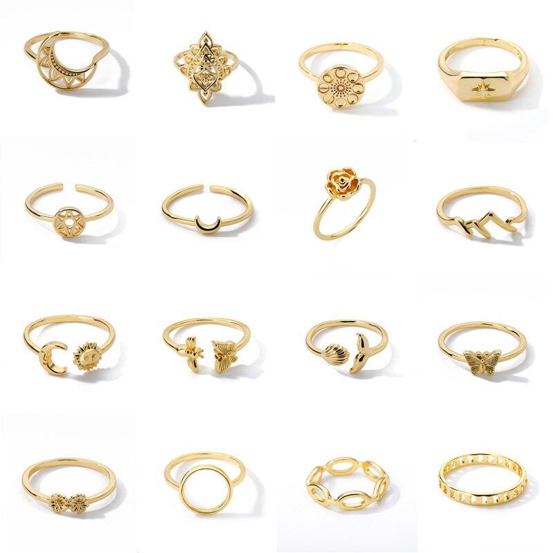 Простой Sun Moon Регулируемые кольца минималистский океан волны Форма женские бабочка обручальное кольцо на палец вечерние свадебные очарова...