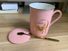 300ml Anime figurka Sailor Moon różowy kości chiński kubek do kawy Tsukino Usagi kubki ceramiczne zestaw filiżanek z pokrywą i łyżka prezenty