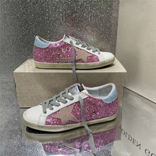 2021 new South Korea distressed black Glitter stars dirty shoes men and women leather sneakers with increased flat shoes