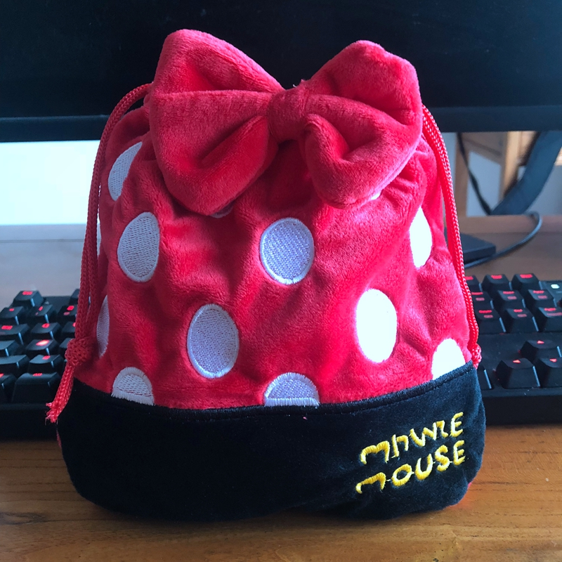 Minnie Bowknot Drawstring Bags Plush Storage Handbags Makeup Bag Coin Bundle Pocket Purse NEW