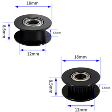 5Pcs Black Aluminum GT2 6mm Width 20 Tooth Teeth/Smooth 2GT Timing Idler Pulley Pully Double Bearing For 3D Printer Bore=3mm/5mm