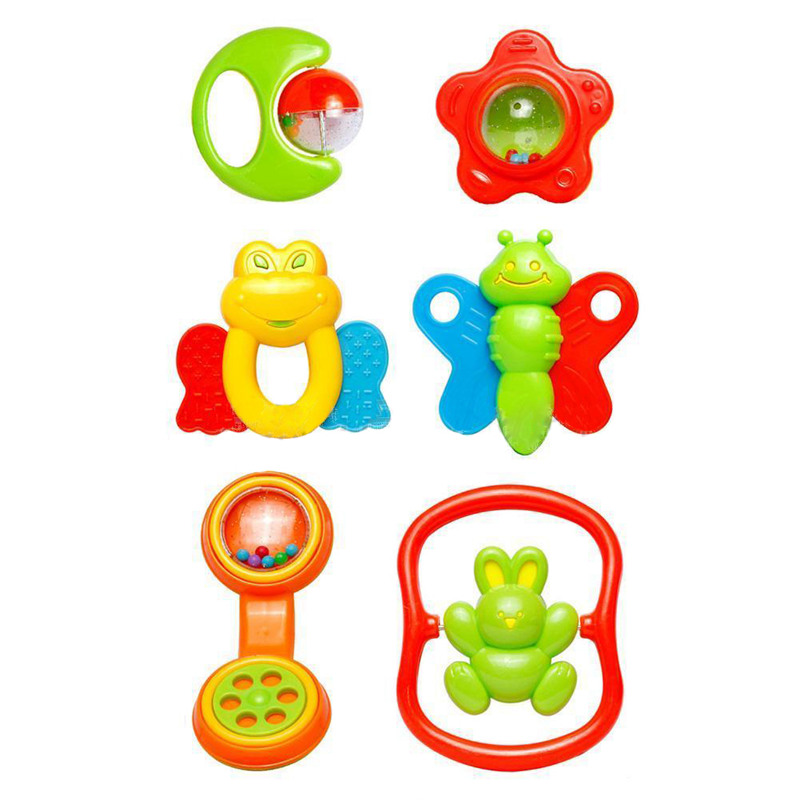 New 6 PCS Plastic Hand Jingle Shaking Bell Rattle Musical Toy For Baby Toddler, 6 PCS/SET B