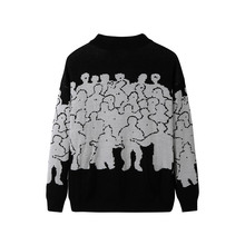 Fashion Sweater Men Cotton Embroidery Pull Homme Sweater Men Clothing Korean Clothes Oversize Knitted Sweater Coats No Quit 3XL