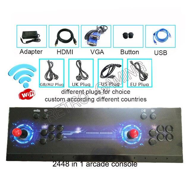 Pandora 3d wi fi caixa de arcade 2448 em 1 zero atraso função economia joystick controlador pcb 134 pçs 3d retro jogo console portátil