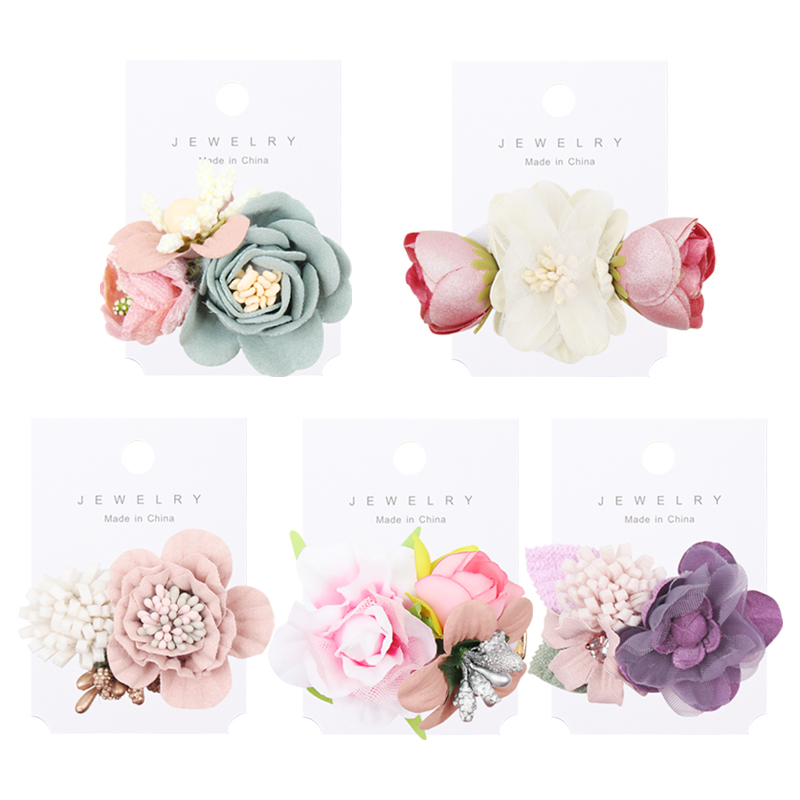 IBOWS Hair Accessories Lovely Baby Headband Fake Flower Nylon Hair Bands For Kids Artificial Floral Elastic Head Bands Headwear 4