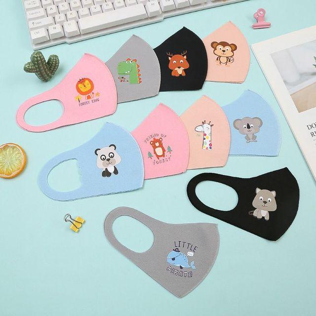 10Pcs PM2.5 Kid Reusable Anti Flu Face Mask Breathable Sponge Dustproor Mouth Mask Random Pattern for Children reusable 3