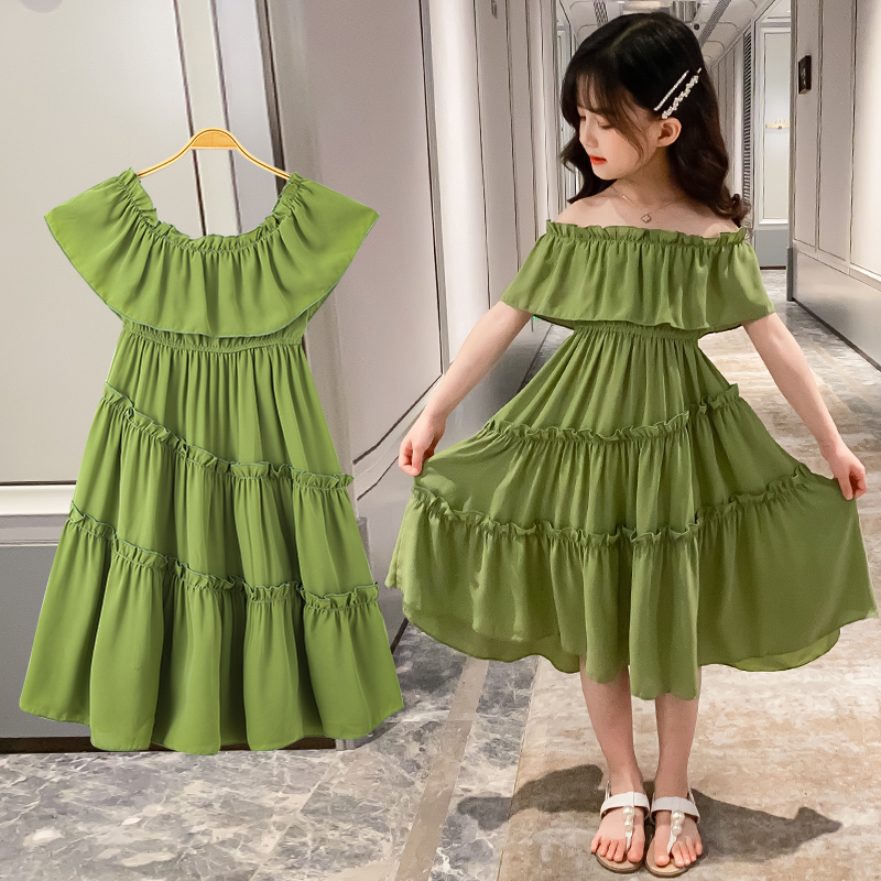 Japanese And Korean Baby Girls Dress 4-13 Years Old Chiffon Strapless Sleeves Solid Color Stitching Shoulderless Kids Dress