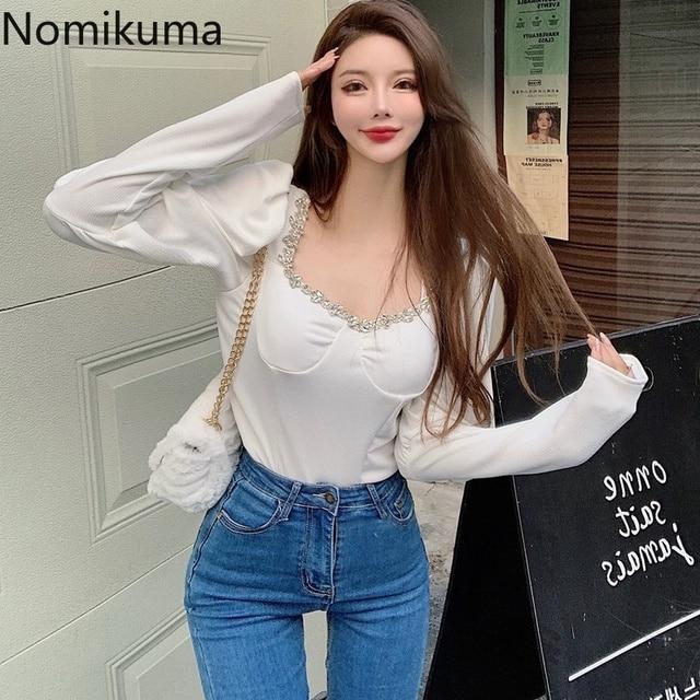 Nomikuma Slim Fit Short Shirts New Fashion Square Collar Long Sleeve Knitted Blouse Women Femme Blusas Elegant Basic Tops Lady 5