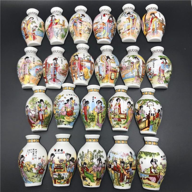 Chinese Style Fridge Magnet Souvenir 3d Ceramic Vase Refrigerator Stickers Twelve Jinchai Maid Figure Magnetic Fridge Paste Gift