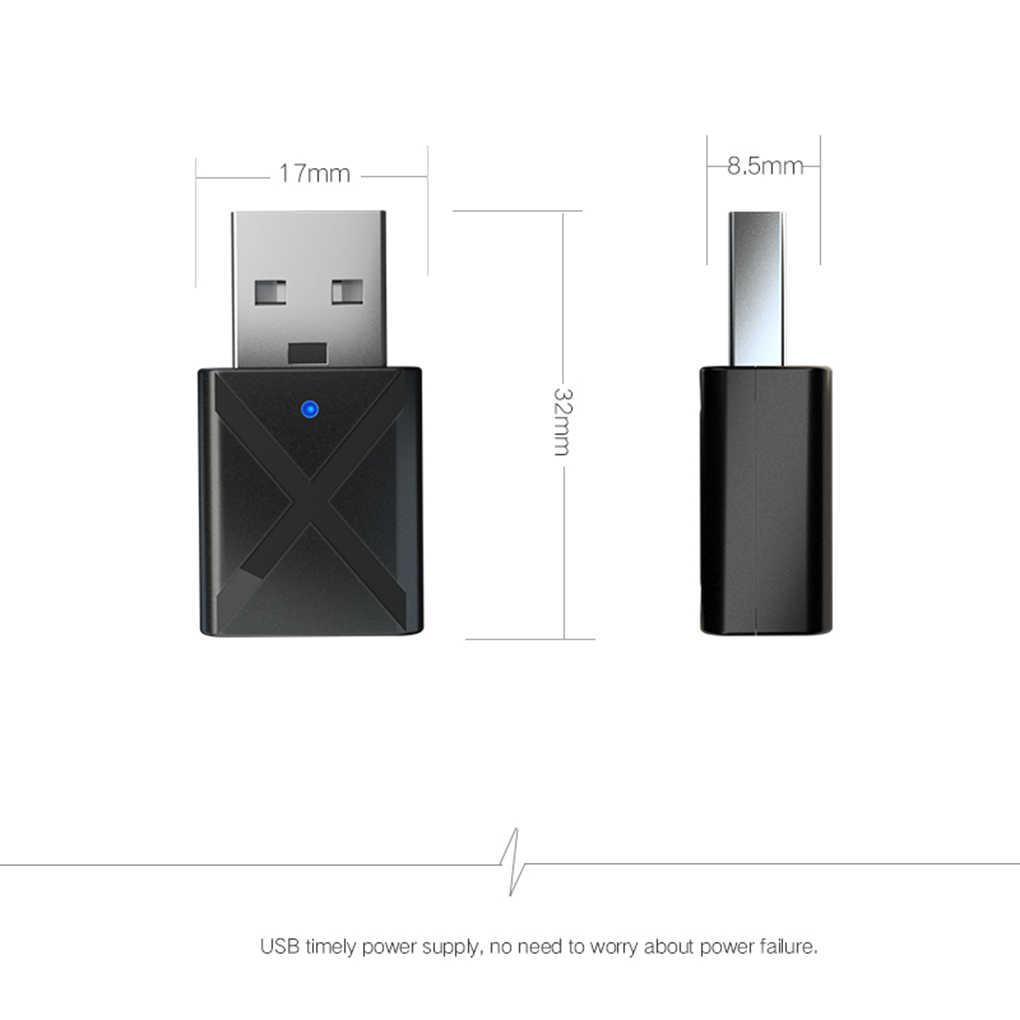 2 w 1 USB Bluetooth 5.0 nadajnik-odbiornik Mini 3.5mm AUX Stereo bezprzewodowy adapter bluetooth do telewizora PC Car