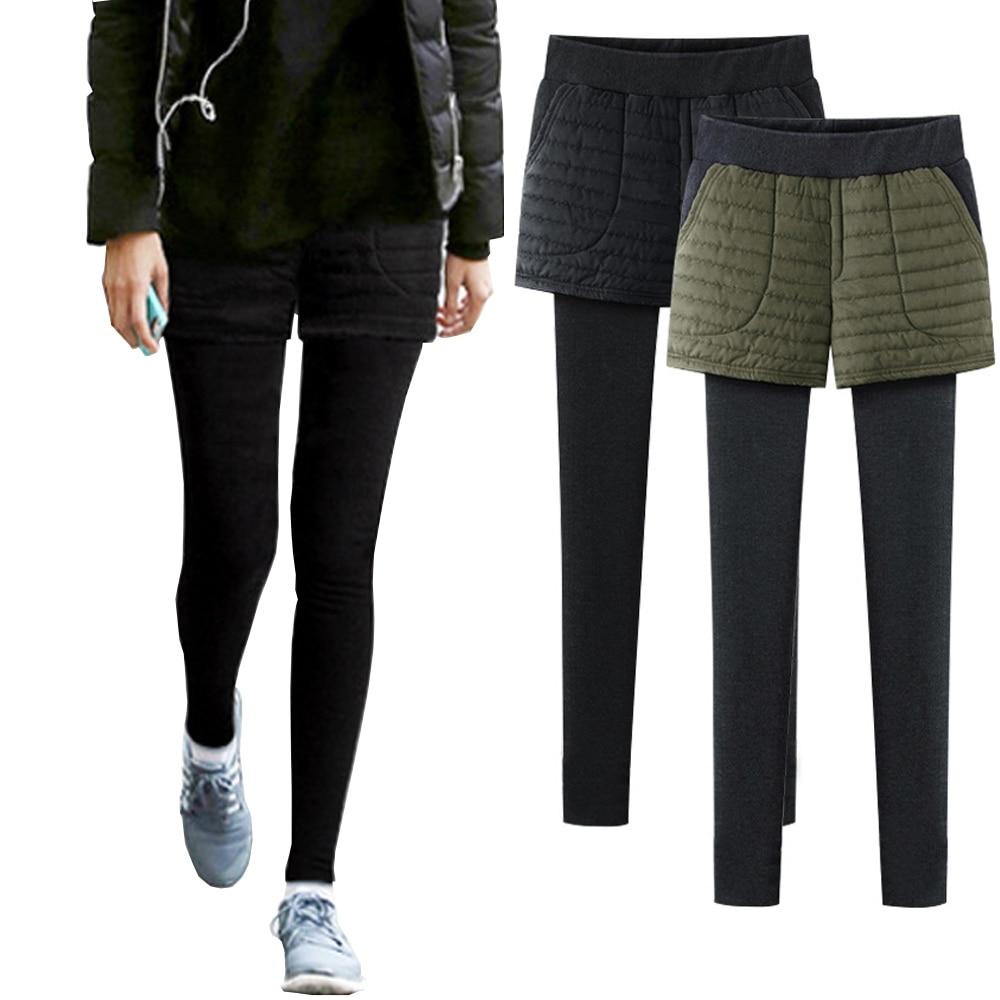 Women Winter False Two Pieces Leggings Thicken Fleece Cotton Trousers Plus Size High Waist Culottes Slim Elasticity Streetwear
