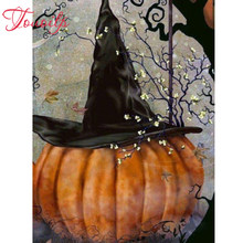 TOUOILP 5D DIY Diamond Painting Halloween Fall Witch Full Crystal Diamond Embroidery Cross Stitch Pumpkin Needlework Home Decor(China)