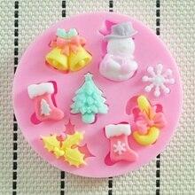Snowman Snowflake Cake Mould Christmas Series Fondant Silicone Handmade Soap Decorative