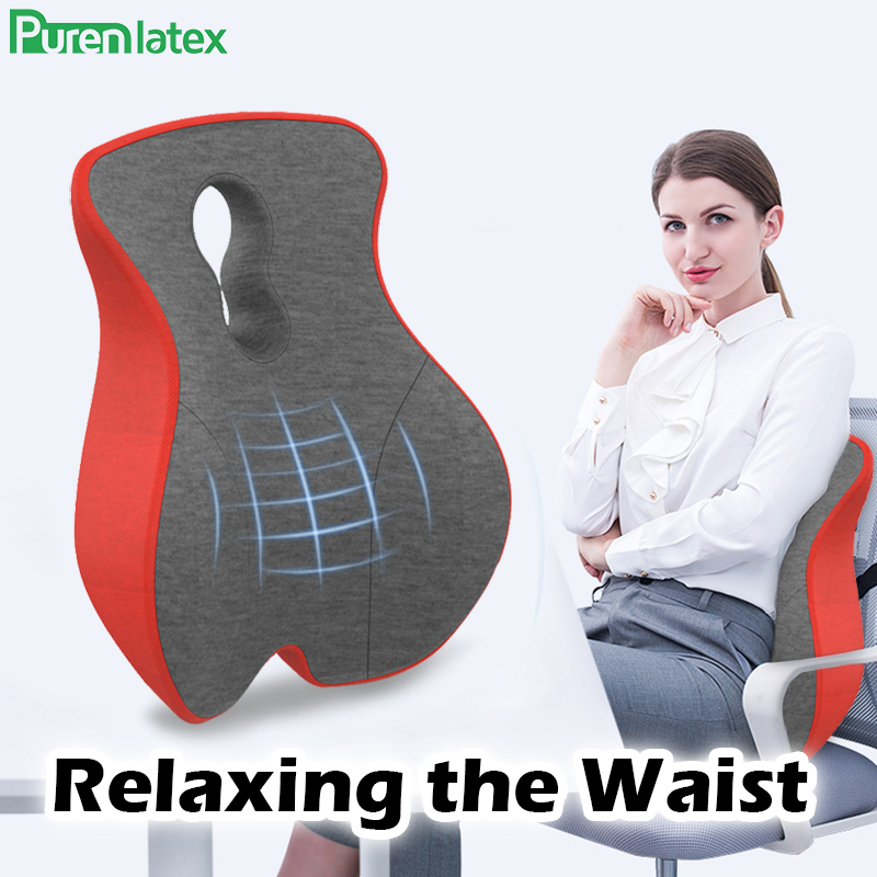 Purenlatex Memory Foam Lumbar Support Back Cushion For Lower Back Pain Relief Pillow For Computer Office Chair Car Seat Recliner