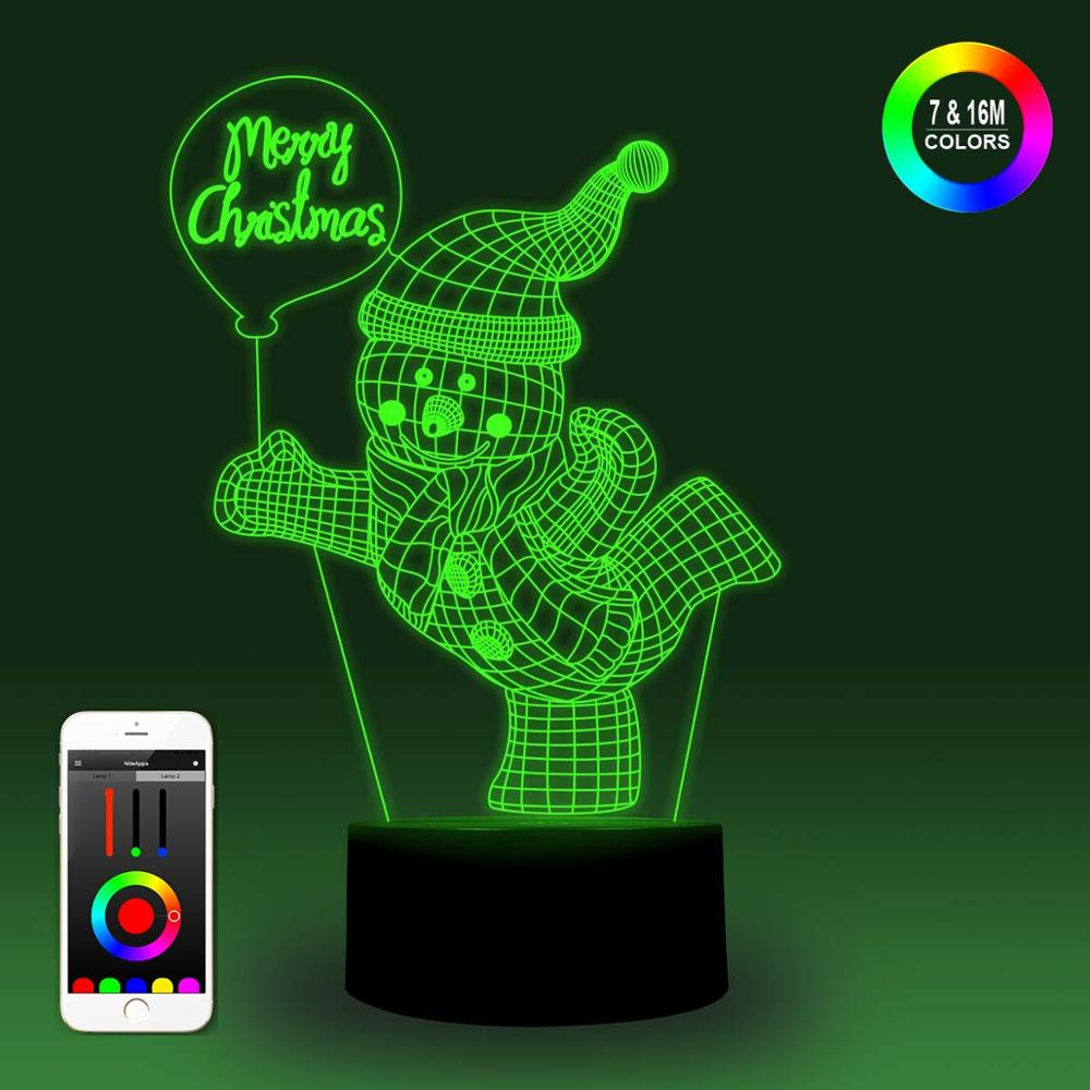 NiteApps 3D Happy Snow Man Night Light Desk Table Illusion Lamp Holiday Birthday Gift APP/Touch Control