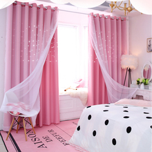 Curtain cortinas para la sala Window Stars Drapes Yarn Tulle Home Decor Blackout Curtains Bedroom Cortinas rideaux D20
