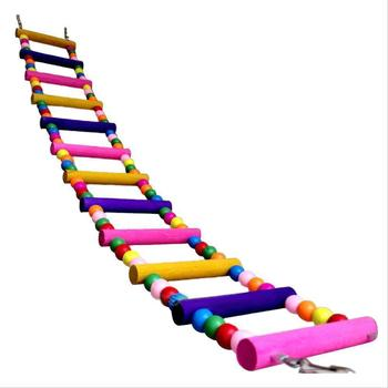 Colorful Parrot Ladder Wood Toys with Hanging Rope Parrot  4