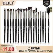 Набор кистей для макияжа BEILI, 18 шт., черные, профессиональные, натуральные, козья пони, тени для век, бровей, растушевка, подводка для глаз, набор кистей для макияжа