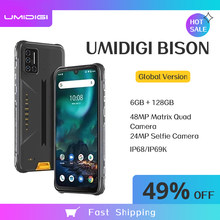 Umidigi bison smartphone 6gb + 128gb nfc ip68/ip69k impermeável áspero telefone 48mp quad camera 6.3