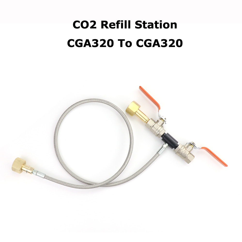 NEW Deluxe Dual Valve CO2 Fill Station Adapter With Gauge 36Inch High Pressure Hose CGA320 To CGA320
