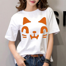 Kawaii Cat Face Printing Womens Leisure Tshirt Harajuku Summer Gothic Female Top Tee O Collar Friends T-shirts Hipster Tumblr(China)