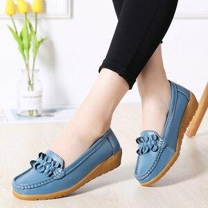 Image 3 - 2020ผู้หญิงLoafersหนังแท้รองเท้าแบนรองเท้าบัลเล่ต์Slipบนหญิงรองเท้าแตะสบายๆรองเท้าPeas Extraกว้างรองเท้า