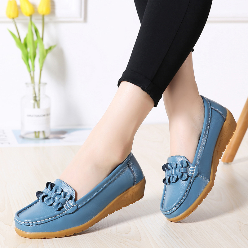 Image 3 - 2020 Women Loafers Genuine Leather Flat Shoes Ballet Flats Slip On Female Moccasins Casual Dress Shoe Peas Extra Wide ShoesWomens Flats   -