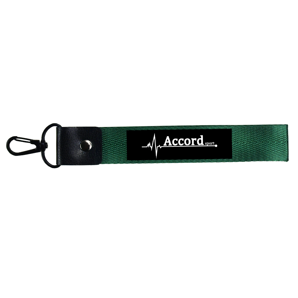 Honda Accord Leather Key Chain Black Rectangular Key Ring Fob Lanyard