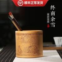 pot, world of purple sand, hand made pen cylinder, desk top, pen holder, storage and decoration, office furniture