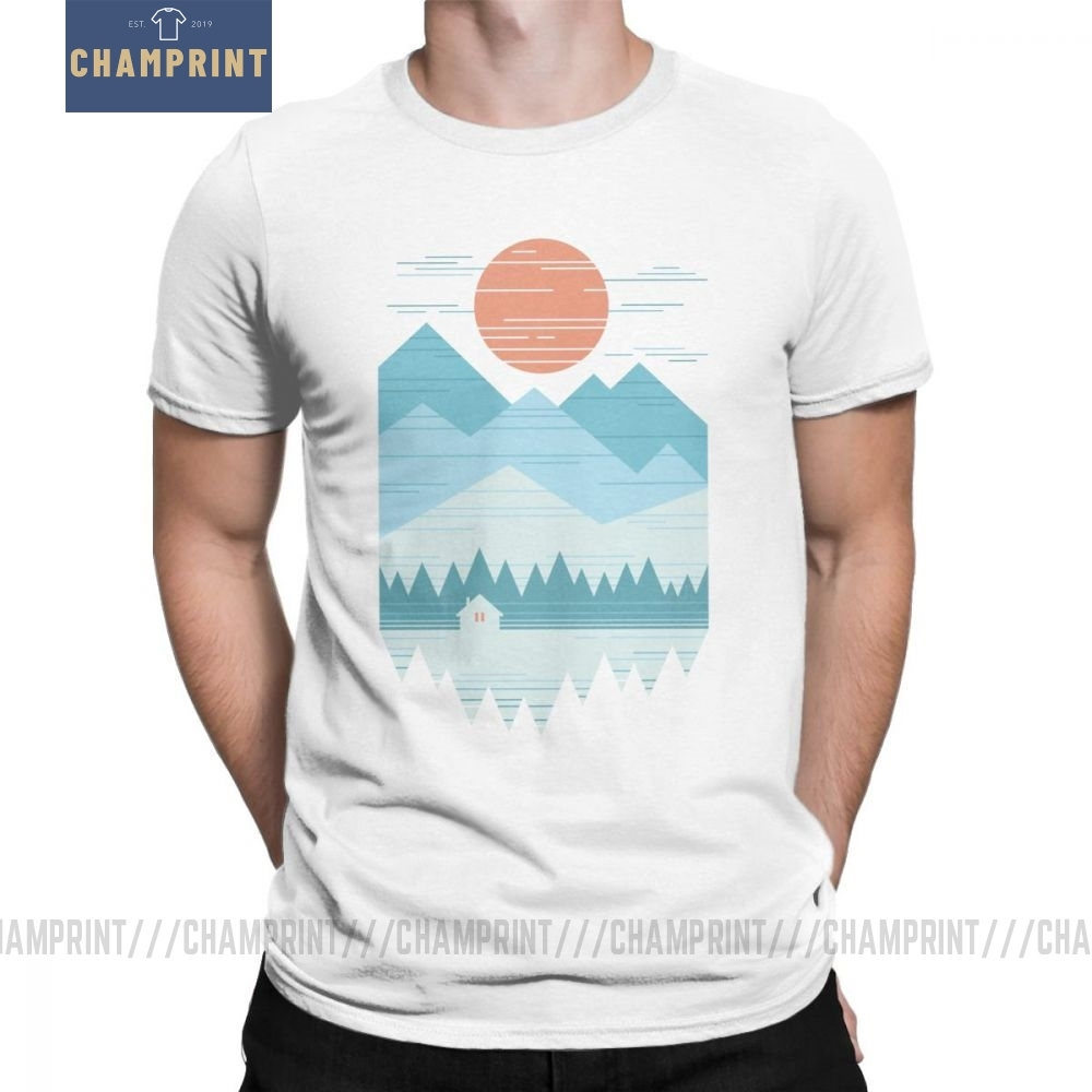 Cabin in The Snow <font><b>T</b></font>-<font><b>Shirt</b></font> Men Mountains <font><b>Wilderness</b></font> Hiking <font><b>T</b></font> <font><b>Shirt</b></font> Trekking Outdoors Camping Novelty Tees O Neck Cotton Clothes image