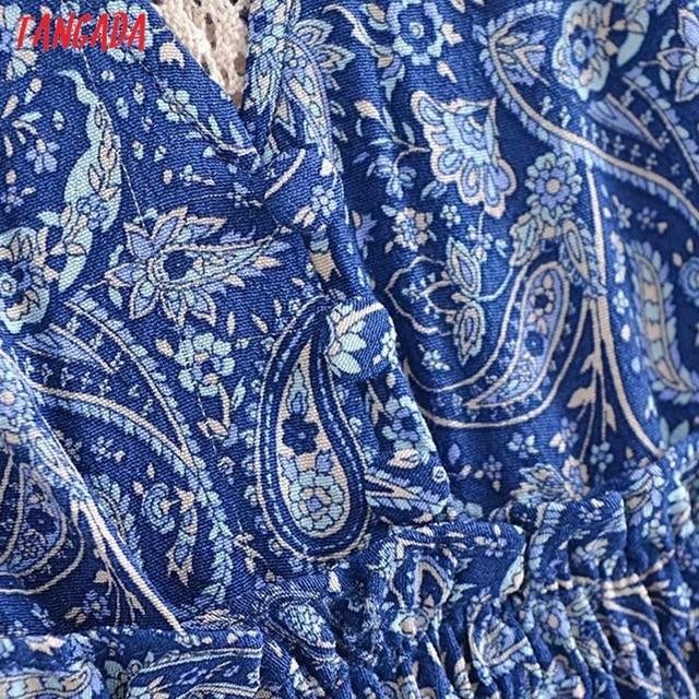 Tangada 2021 Women Print French Style Lace Patchwork Dress Flare Short Sleeve Ladies Long Dress Vestidos 3H239 3