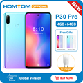 Homtom p30 pro android 9.0 4g celular mt6763 octa núcleo 4 gb 64 gb 4000 mah 6.41 polegada face id 13mp + triplo câmeras smartphone