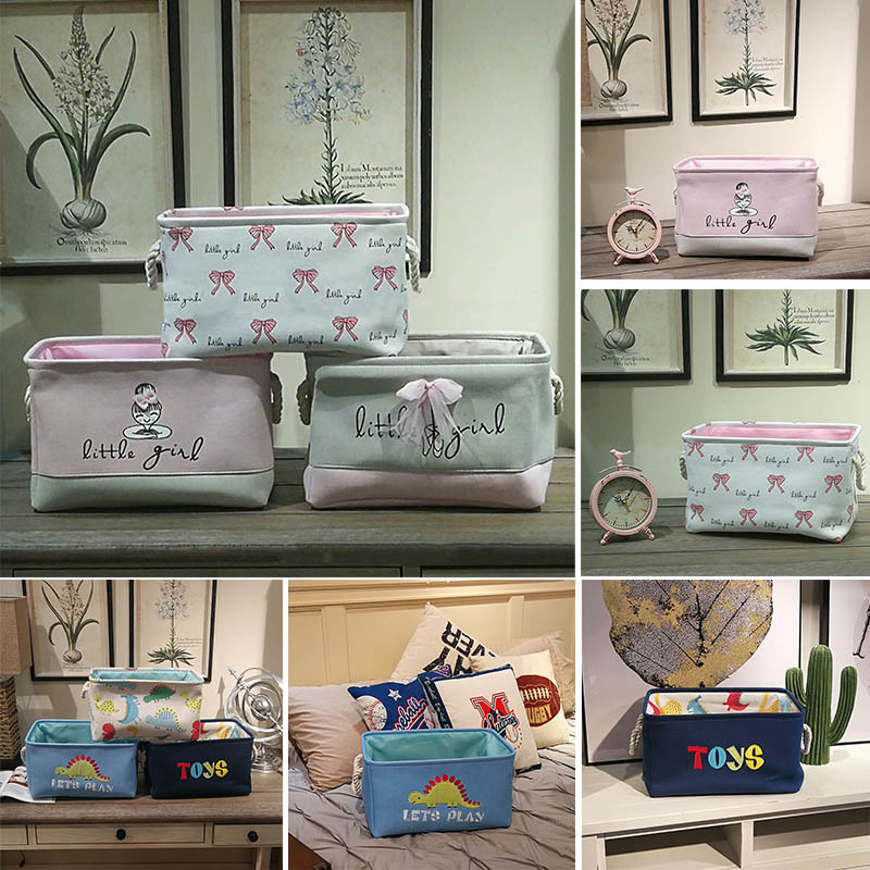 Multifunction Portable 40*28*24cm Laundry Basket Toys Organizer Cotton Linen Ballet Girl Bow Print Large Capacity Storage Basket