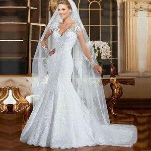 Image 2 - Robe de mariée sirène en dentelle, Sexy au dos, Illusion, avec des Appliques, robe de mariée blanche, sur mesure, 2020