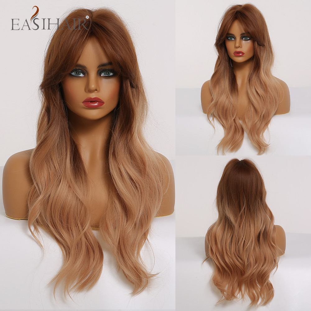 EASIHAIR Long Wavy Synthetic Wig Brown To Blonde Ombre Hair For Black Women Cosplay Natural Hair Wig Heat Resistant Fiber