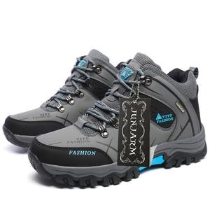 Image 4 - JUNJARM ブランド男性冬の雪のブーツ暖かいスーパー男性高品質防水レザースニーカー屋外男性ハイキングブーツ作業靴