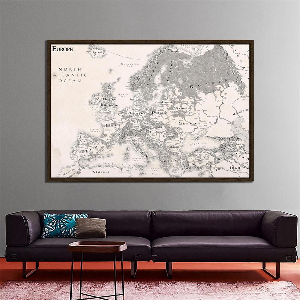 Simple Europe Map Black White Nonwoven Decoration Map For Office Home School Wall Decoration 150x100cm