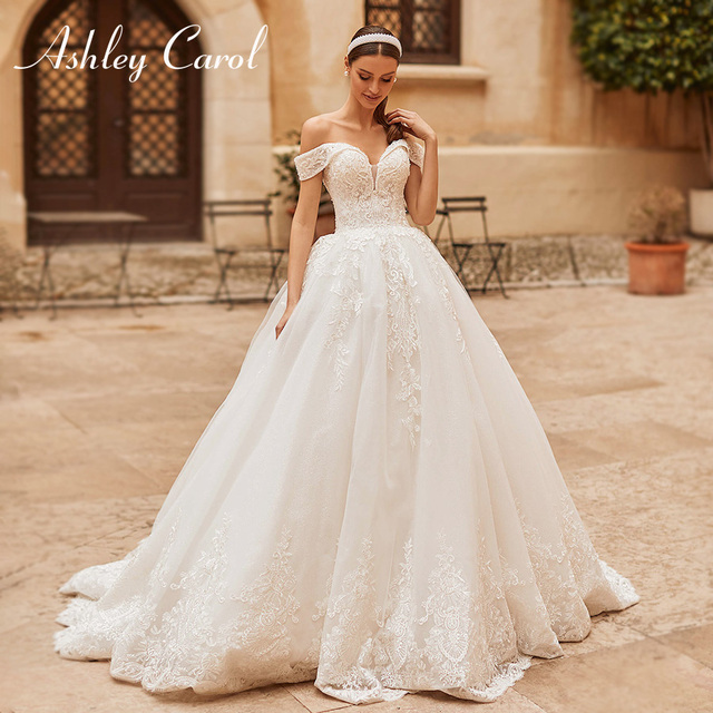 Ashley Carol Princess Wedding Dress 2021 Elegant Sweetheart Bride Beaded Embroidery Lace Up A-Line Bridal Dresses Robe De Mariee 1