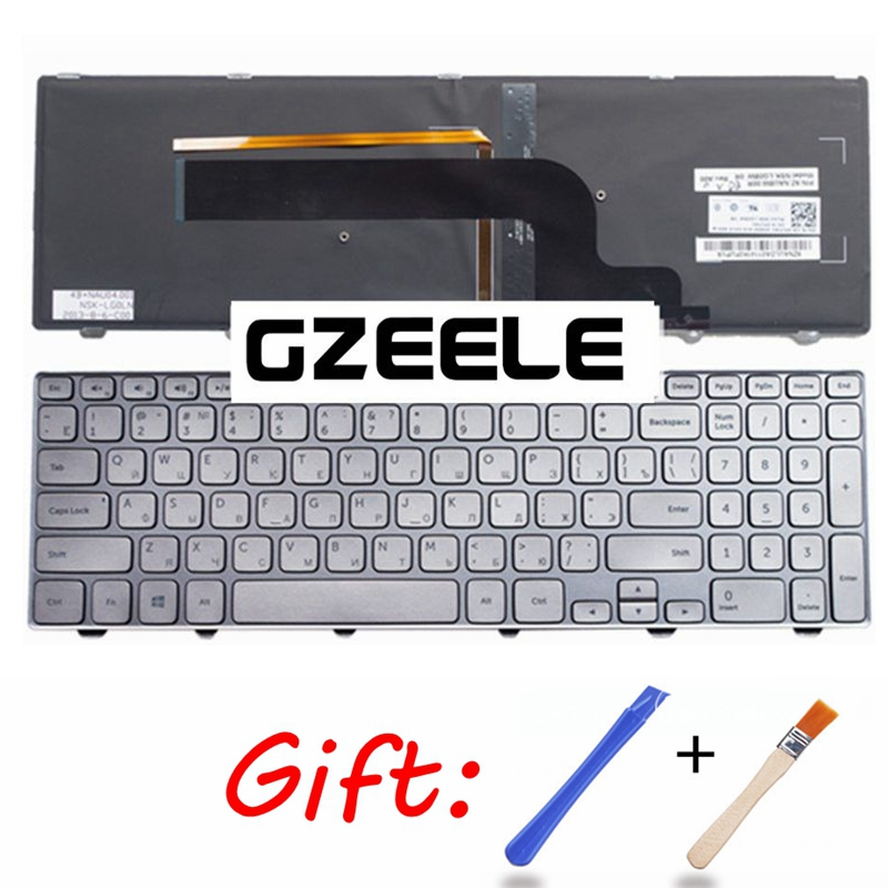 Russian Keyboard For DELL For Inspiron 15-7000 Series 7537 RU Keyboard Backlit With SILVER FRAME