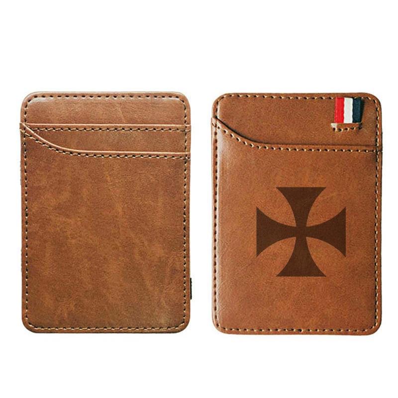 Vintage High Quality Knight Templar Cross Leather Magic Wallets Fashion Men Money Clips Card Purse Cash Holder