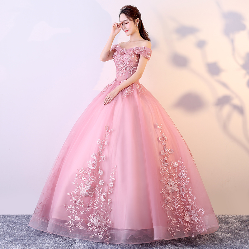 9716 Puffy Rosa Quinceañera Vestidos De Encaje De Hombro Apliques Debutante De Graduación Fiesta Formal Vestido Dulce 16 Vestido Por 15 Años In
