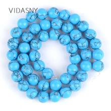 Natural Stone Blue Turquoises Beads For Jewelry Making Diy Necklace Bracelet Accessories 4mm-12mm Round Spacer Loose 15